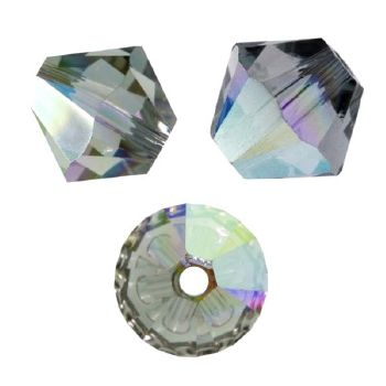 Toupies Swarovski 6mm BLACK DIAMOND AB  / 10 perles