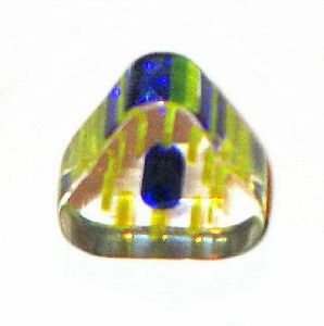 10 Perles Triangle verre pop bleu jaune blanc 6x10mm