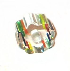 Cylindre court rainuré verre pop Multicolore 6x10mm / 10 perles