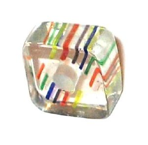 Carré verre pop inclusions Multicolore 6x10mm / 10 perles