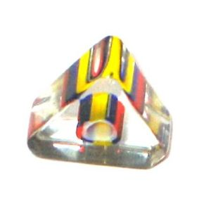 Triangle verre pop Bleu Jaune Rouge 6x10mm / 10 perles
