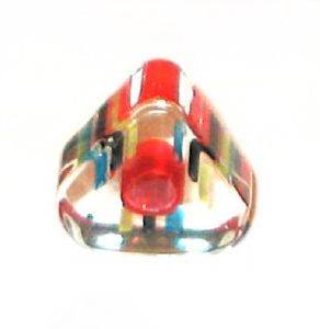Triangle verre pop Rouge ligné Multicolore 6x10mm / 10 perles