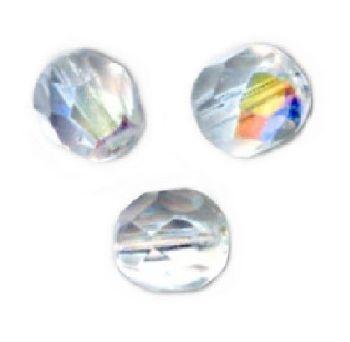 5 Perles Facettes cristal de boheme 10mm RUBY AB