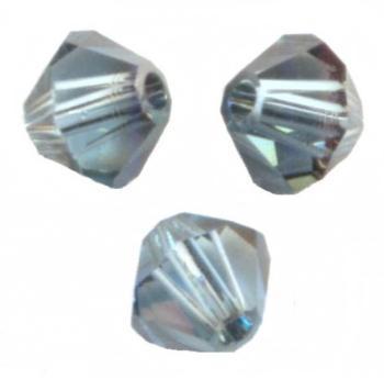 TURQUOISE SATIN 20 Perles Toupies 4mm Cristal Swarovski