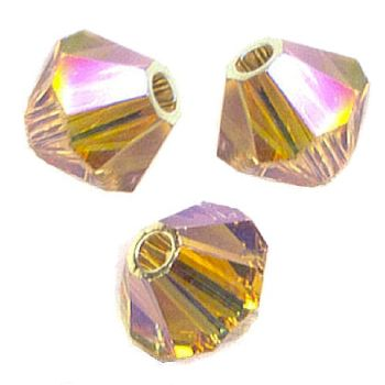 Toupies Swarovski 4mm LIGHT COLORADO TOPAZ AB2X  / 15 perles - tarif dégressif