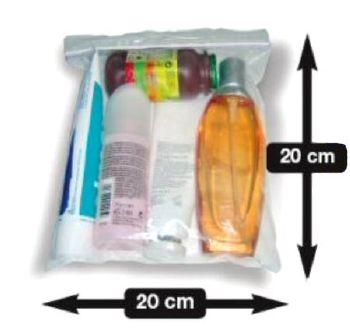 pochette sachet avec fermeture par zip 200x200 l 39 unit id al pour les liquides en cabine avion. Black Bedroom Furniture Sets. Home Design Ideas